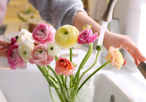 Water flows from a kitchen faucet into a vase, containing a dozen vibrant mixed flowers