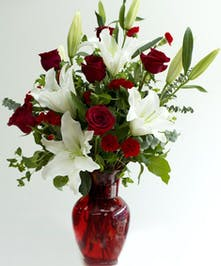 White Lilies, Red Roses in a red vase