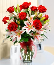 Full of Gorgeous Red Roses and Lilies