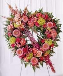Open Pastel Heart Funeral Flowers