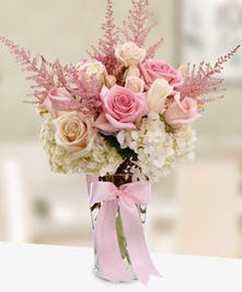 Rose Astilbe Hydrangea Arrangement