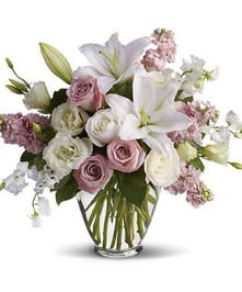 Vase arrangement of Roses and Lilies