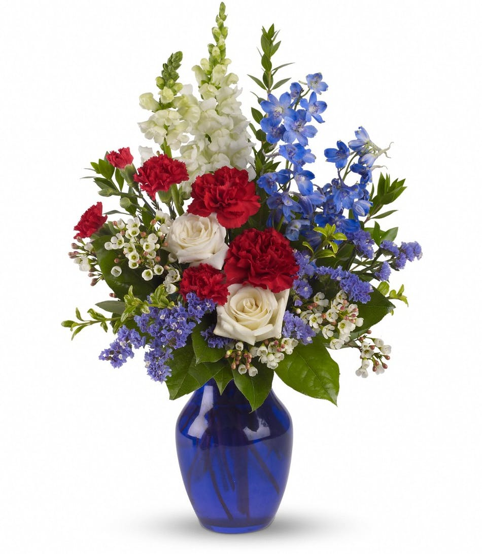 All American Bouquet A Striking Display Of Red White And Blue