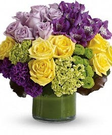 Roses, Carnations, and Hydrangea in a cylinder