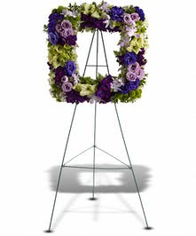A perfect mix of fresh blooms arranged into a picture frame.