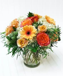 Orange Roses, Peach Gerbera Daisies, Blue Thistle