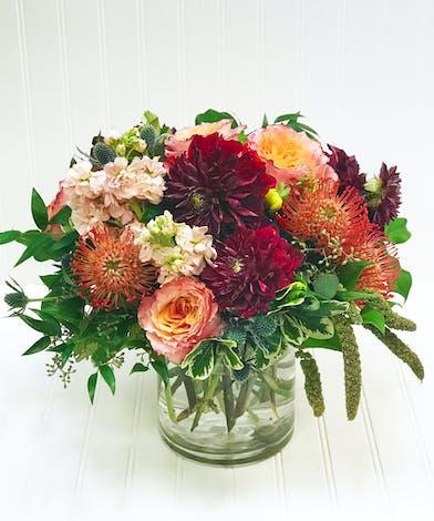 Dahlia, Garden Roses, Protea in Glass Cylinder
