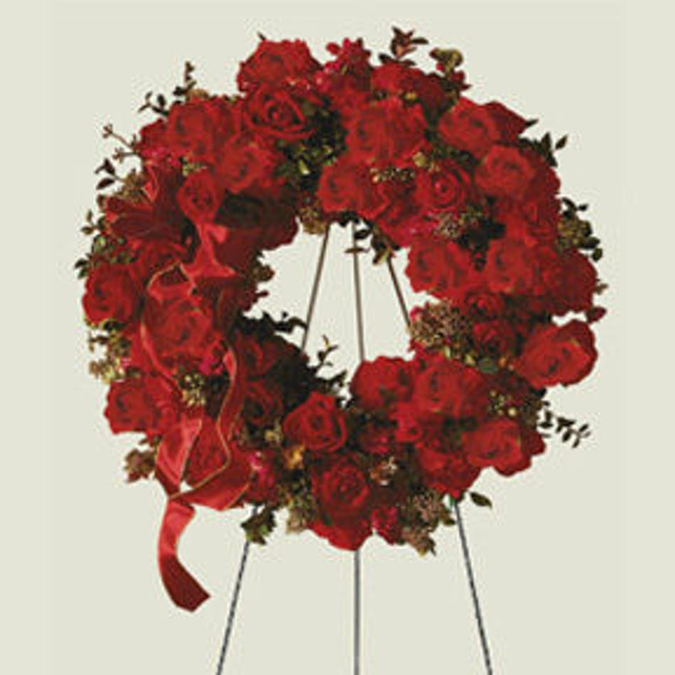 Red Rose Funeral Wreath- BlossomFlower.com