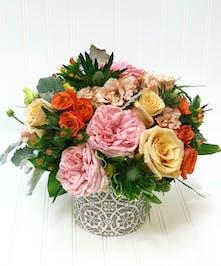 Ceramic pot with roses, thistle, berries