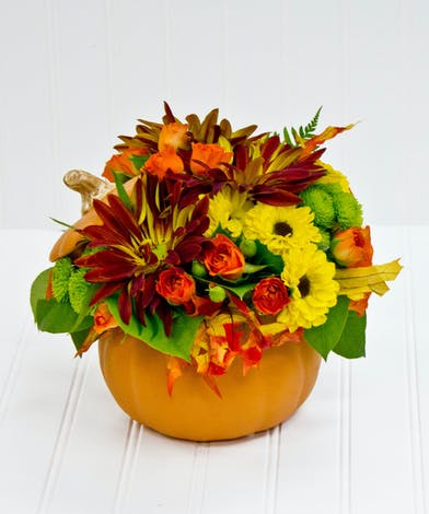 Orange Roses, Yellow Mums in a Ceramic Pumpkin