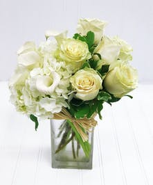 Square Vase of White Roses, Hydrangea, & Calla Lilies
