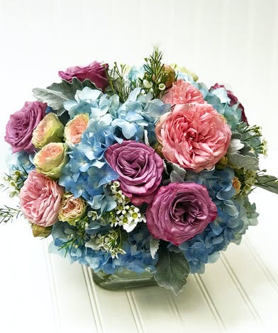 Roses, Hydrangea, & Ranunculus with Tulips in glass cube