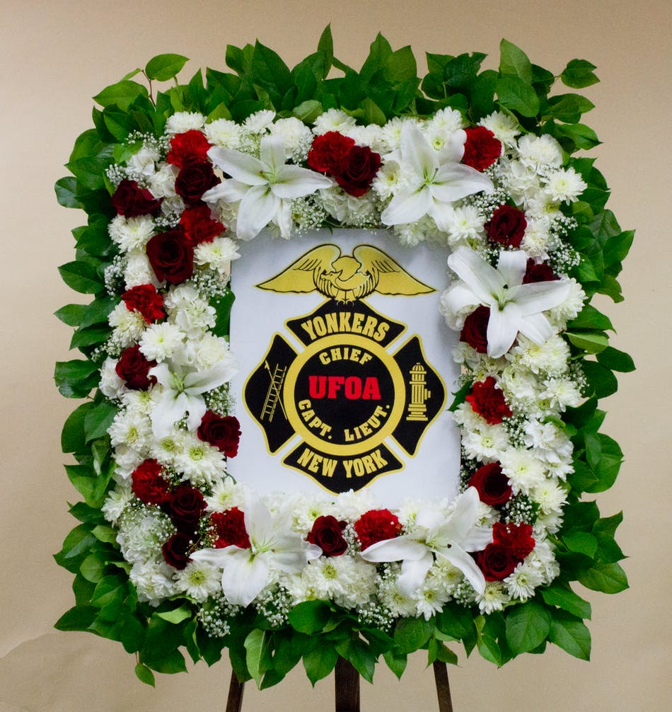 Fire Fighter Photo Funeral Standing Spray Easel Yonkers New York